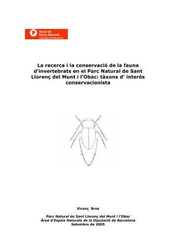 La recerca i la conservació de la fauna d'invertebrats en el Parc ...
