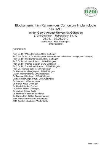 Blockunterricht im Rahmen des Curriculum Implantologie des DZOI