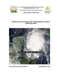 reporte de actividad en contingencia por el huracan rina