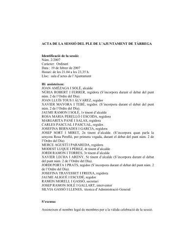 ACTA DE LA SESSIÓ DEL PLE DE L'AJUNTAMENT DE TÀRREGA ...