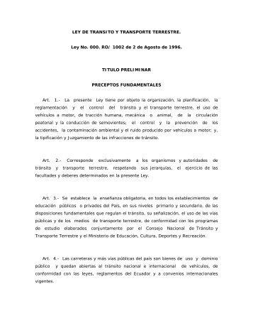 ley de transito y transporte terrestre - Asociación de Empresas ...
