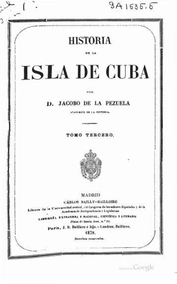 Historia de la Isla de Cuba, Tomo Tercero - Colegio, Academia Baldor