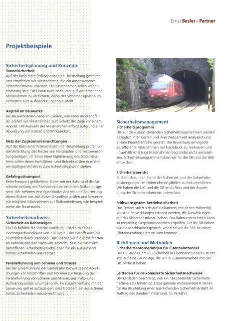 Sicherheit im Eisenbahnwesen - Ernst Basler + Partner AG