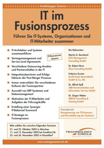 IT im Fusionsprozess - ECG Management Consulting GmbH