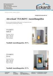 Abverkauf TULIKIVI Ausstellungsöfen - Eckardt - Fliesen