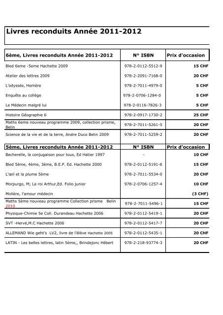 Livres Reconduits Annee 2011 2012 Ecole Valmont