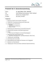 Protokoll der 5. Generalversammlung - Zürich Tennis