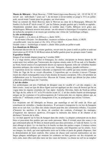 Musée de Bibracte - Mont Beuvray -71990 Saint-Léger-sous ... - APHG