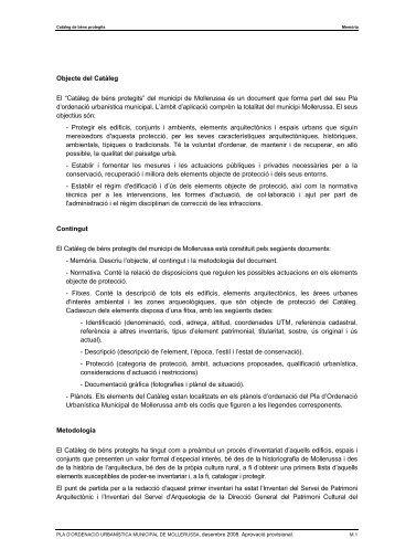 Memòria catàleg de bens protegits - Ajuntament de Mollerussa