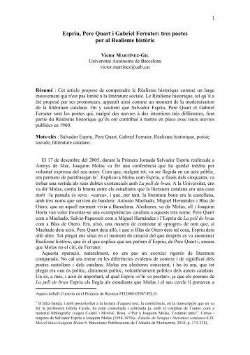 Espriu, Pere Quart i Gabriel Ferrater: tres poetes per al Realisme ...