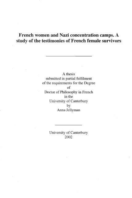 French Women And Nazi Concentration Camps University Of