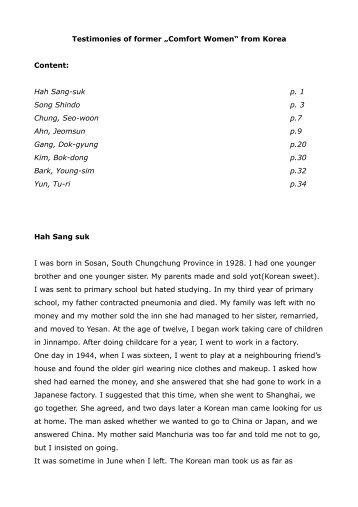 "Testimonies of former ""Comfort Women"" from ... - Korea Verband"