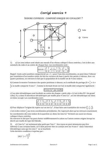 Corrigé exercice 9 - Chimie - PCSI