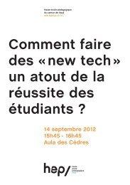 14 septembre 2012 15h45 - 16h45 Aula des Cèdres - HEP Vaud