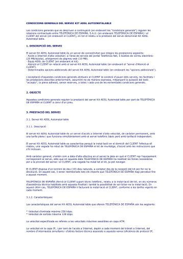 CONDICIONS GENERALS DEL SERVEI KIT ADSL ... - Movistar