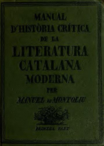 Manual d'història crítica de la literatura Catalana moderna