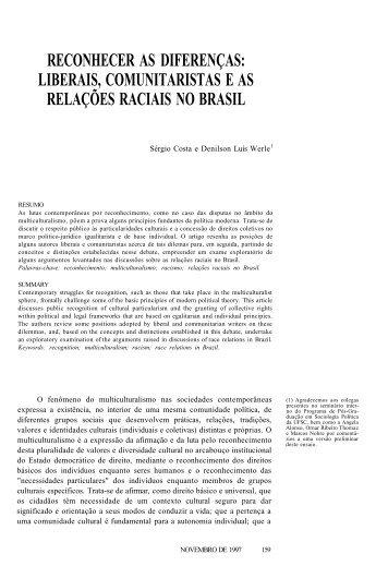 liberais, comunitaristas e as relações raciais no brasil