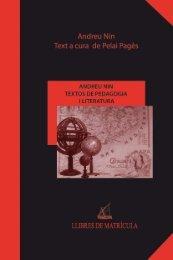 Andreu nin TeXTOS de PedAGOGiA i LiTerATurA - Llibres de ...