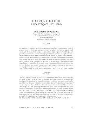 FORMAÇÃO DOCENTE E EDUCAÇÃO INCLUSIVA - Redligare
