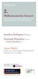 2. Philharmonisches Konzert - Die Duisburger Philharmoniker