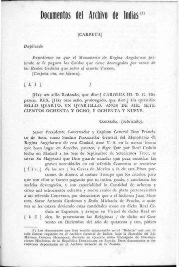 DOCUMENTOS DEL ARCHIVO DE INDIAS - BAGN