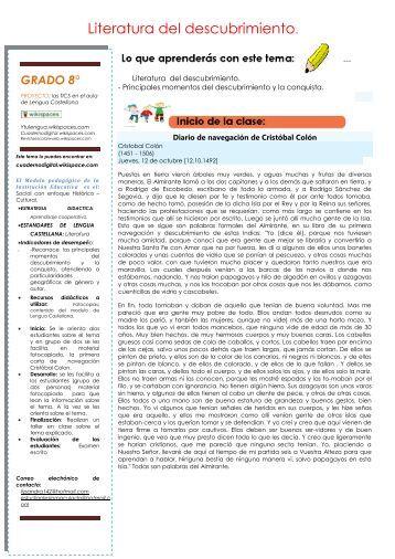Literatura del descubrimiento. - Cuaderno digital - Wikispaces