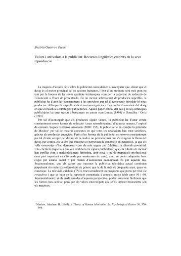 Valors i antivalors a la publicitat - LIPGRUP. Llengua i publicitat
