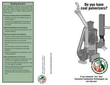 Do you have coal pulverizers? - Innovative Combustion Technologies