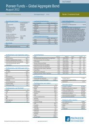 Pioneer Funds – Global Aggregate Bond - Pioneer Investments