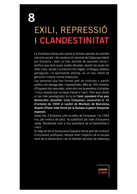 exili, repressió i clandestinitat - Esquerra Republicana de Catalunya