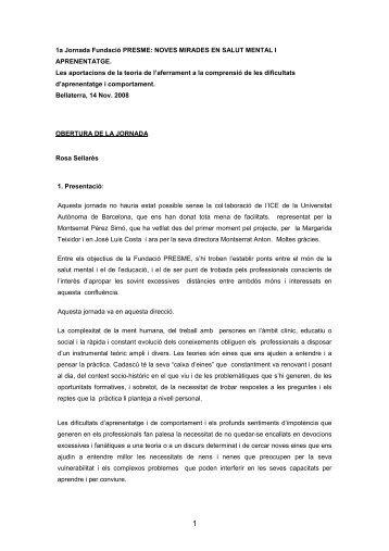 1a Jornada Fundació PRESME: NOVES MIRADES EN SALUT ...