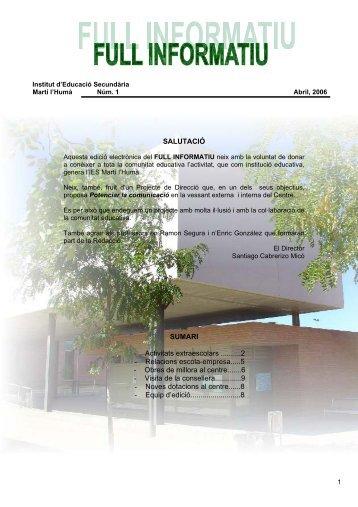 Full Informatiu núm 1 Abril 2006 - Institut Martí l'Humà