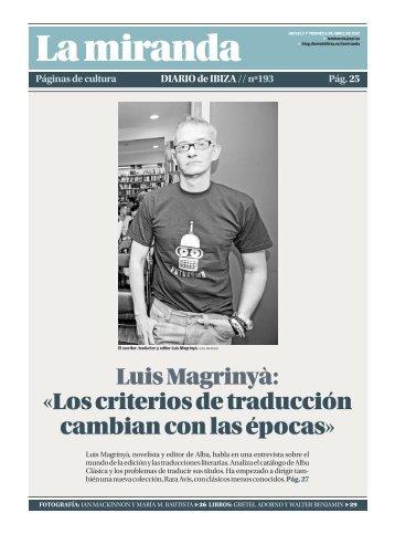 Luis Magrinyà: «Los criterios de traducción ... - Diario de Ibiza