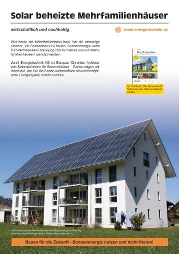 Solar beheizte Mehrfamilienhäuser - Jenni Energietechnik AG