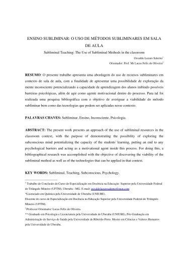 ensino subliminar: o uso de métodos subliminares em sala ... - UFTM