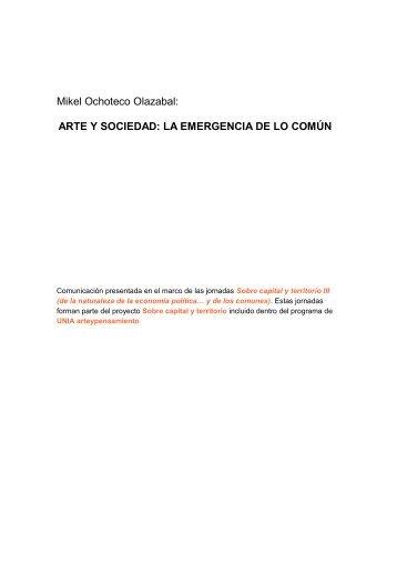 ARTE Y SOCIEDAD: LA EMERGENCIA DE LO COMÚN - UNIA ...