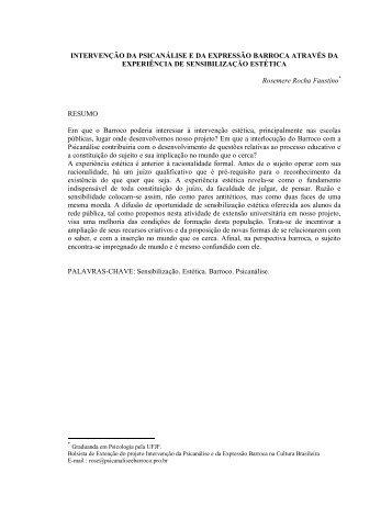 Experiência de sensibilização estética - Psicanálise & Barroco