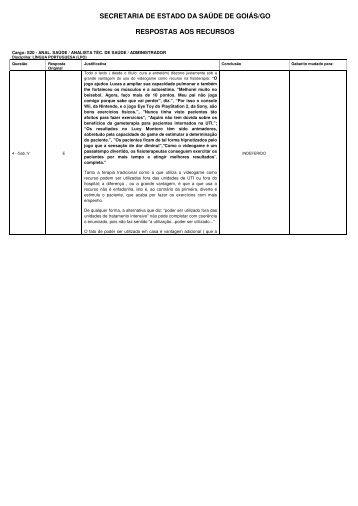 secretaria de estado da saúde de goiás/go - Sistema de ...