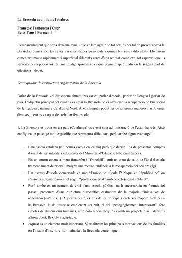 La Bressola avui: llums i ombres Francesc Franquesa i ... - Blogs IEC