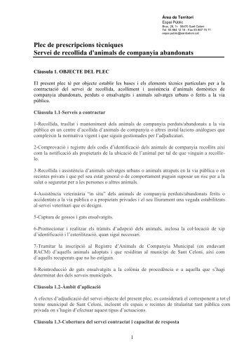 Plec de prescripcions tècniques - Ajuntament de Sant Celoni