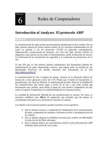 Introducción al Analyzer. El protocolo ARP - Redes de Computadores