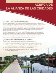 ACERCA DE LA ALIANZA DE LAS CIUDADES - Cities Alliance