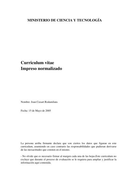 curriculum vitae normalizado editor