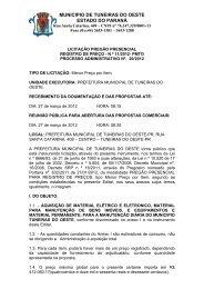 MUNICIPIO DE TUNEIRAS DO OESTE ESTADO DO PARANÁ