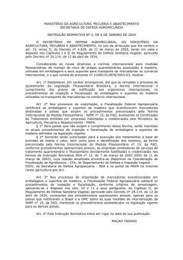 Instrução Normativa SDA Nº 04/2004 - EXPUREX - Serviços de ...