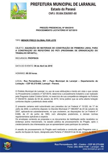 PREGÃO PRESENCIAL Nº 006/2009