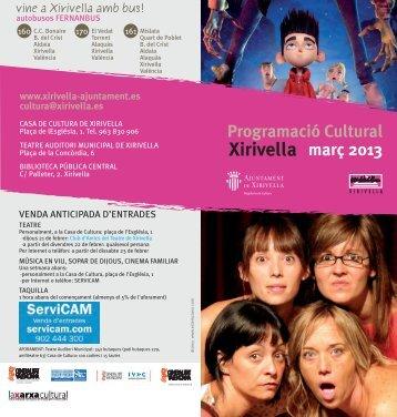 Consulta la programació cultural ací - Ajuntament de Xirivella