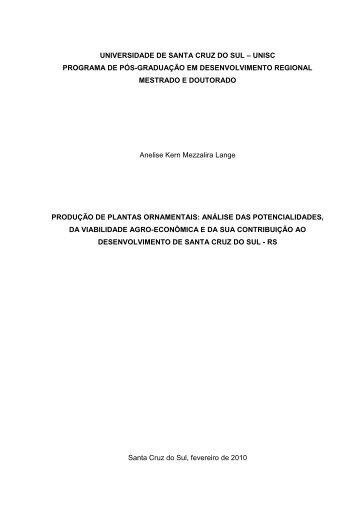 UNIVERSIDADE DE SANTA CRUZ DO SUL – UNISC PROGRAMA ...