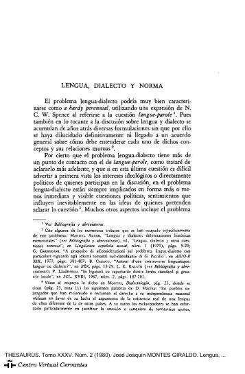 Lengua, dialecto y norma - Centro Virtual Cervantes