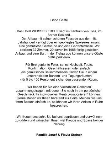 Liebe Gäste - Hotel Weisses Kreuz - Lyss